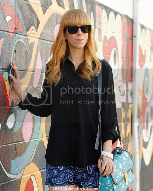 pajama trend, paisley shorts, Jason Wu for Target floral bag, southern California fashion blog