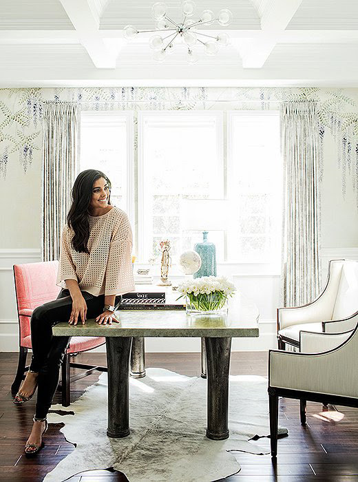 Rachel Roy home office OKL photo by Joe Schmelzer sputnik pendant cowhide rug