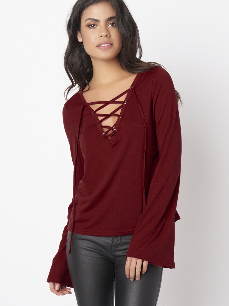 Sexy Women Long Bell Sleeve Deep-V Pure Color Blouses