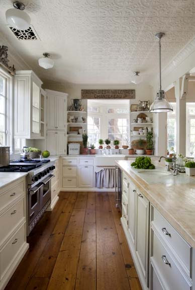 {Brooke Giannetti's kitchen ceiling has so much character with its tin tiles.}