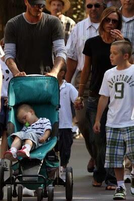 Posh and Becks and boys at Disneyland