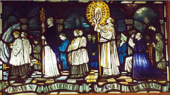 stained glass window depicting Holy Saturday Vigil procssion from Kesgrave Church