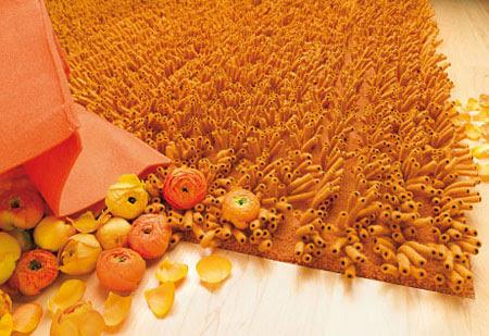 Orange merino wool rug