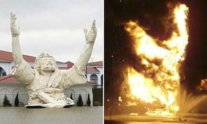 Touchdown Jesus Fire