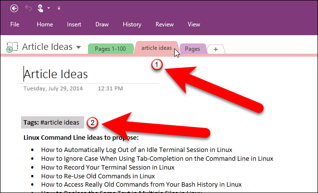 When migrating to OneNote, Tags become sections. Evernote to OneNote.