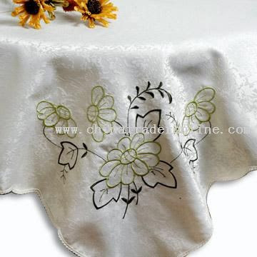 Table Cloth Made of 100% Polyester,Embroidered Table Linen