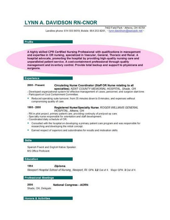 Example Resume Sample Resume With Objectives For Nurses