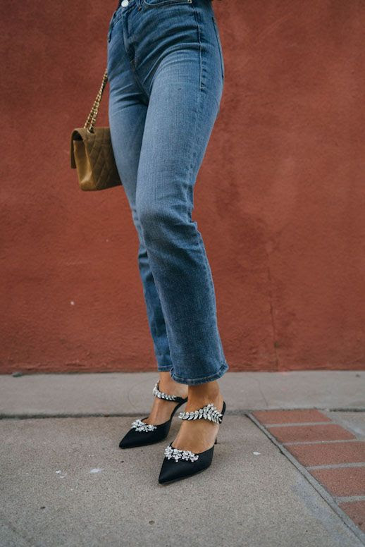Le Fashion Blog Aimee Song Cropped Dark Wash Denim Embellished Heeled Mules Via Song Of Style