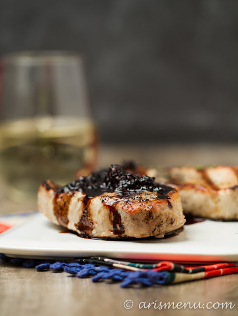 Grilled Pork Chops with Balsamic Blackberry Sauce | Ari's Menu