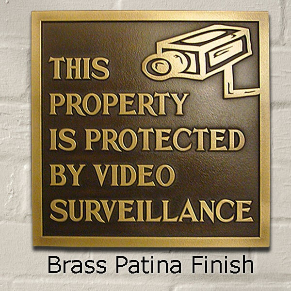 Under Video Surveillance Sign, Security Plaque, Made in USA