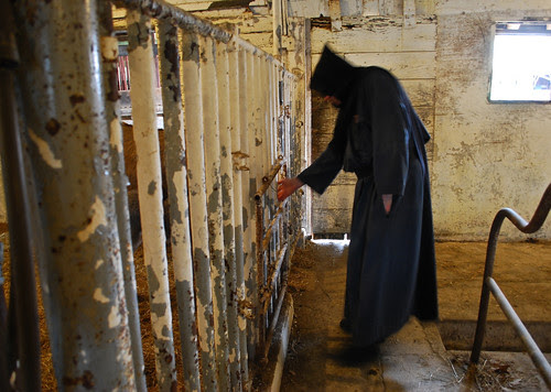 In the barn -- a monk