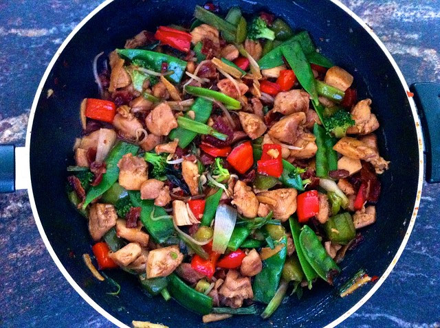 Chinese Stir Fry with Chicken and Bacon