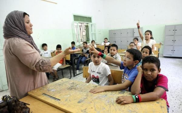 Children starting school today in Libya