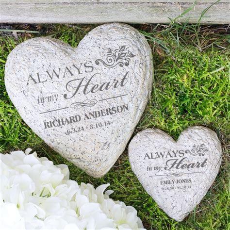 Engraved Heart Memorial Garden Stone   GiftsForYouNow