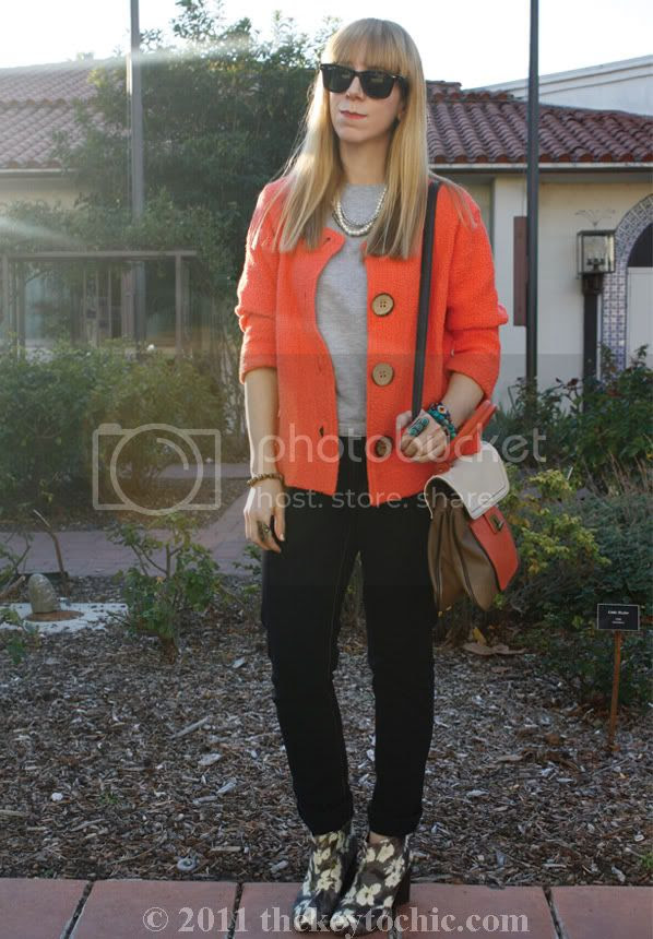 Color Me Cotton cardigan, H&M Conscious floral booties, southern California fashion blog