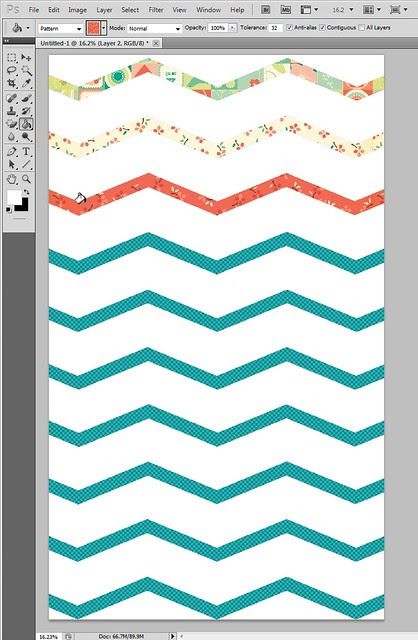 filling stretch chevron overlay with Cosmo Cricket patterned papers