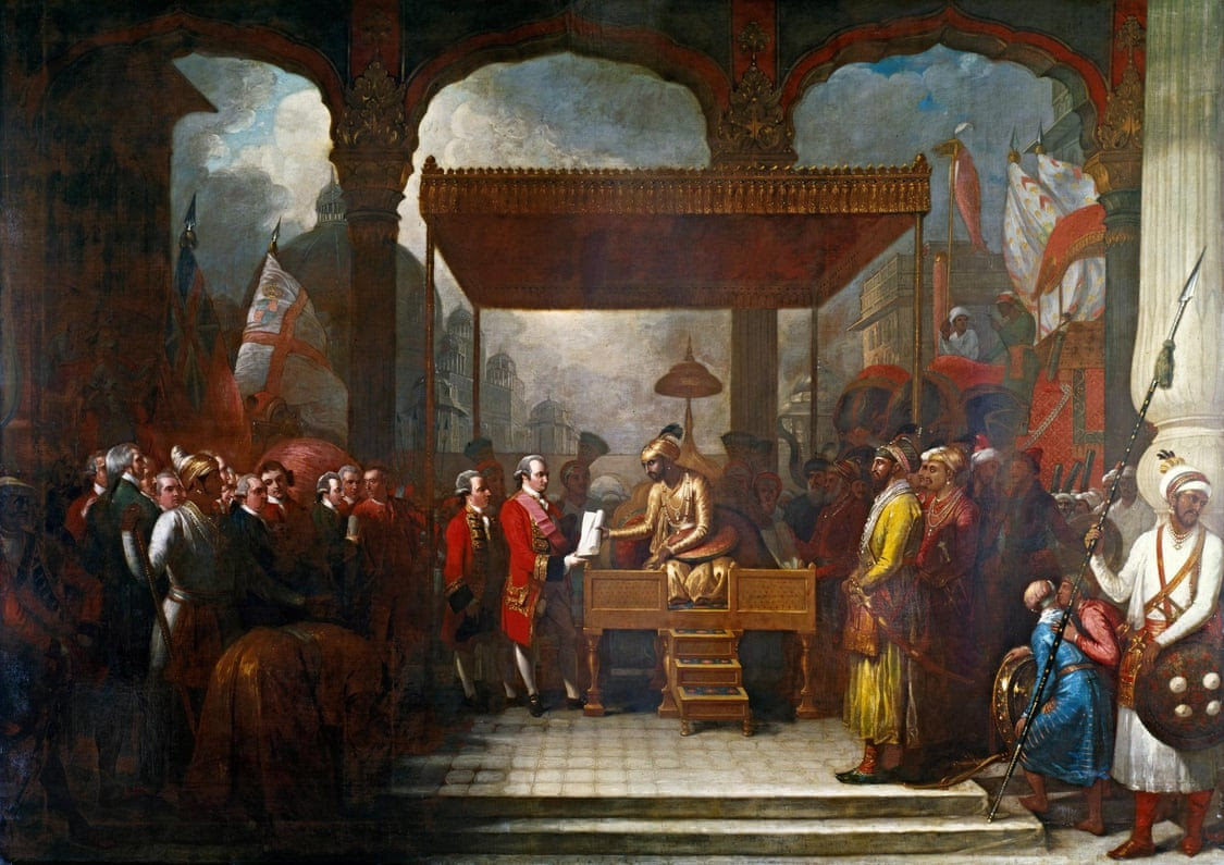 The Mughal emperor Shah Alam hands a scroll to Robert Clive, the governor of Bengal, which transferred tax collecting rights in Bengal, Bihar and Orissa to the East India Company.