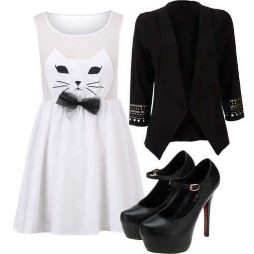 Here Kitty Kitty! (Cat Face White Dress $27.41) (girls,dress,girl,fashion,style,clothes,polyvore,our picks)