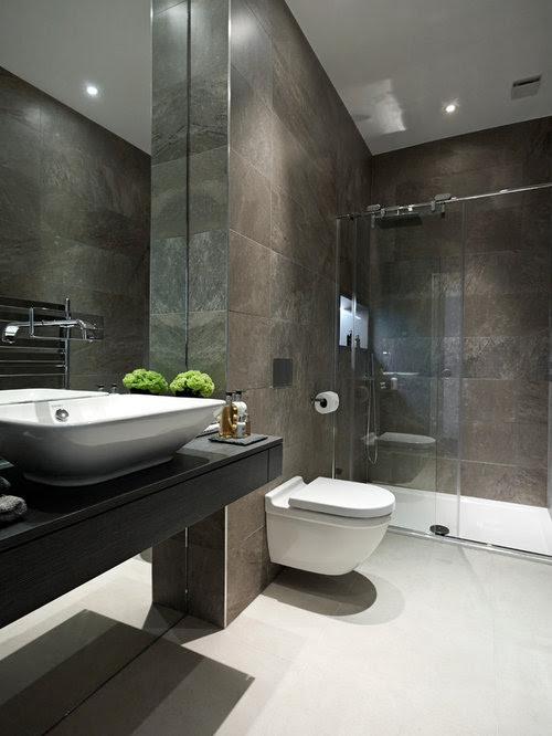 Dark Tiled Bathroom Home Design Ideas, Pictures, Remodel ...