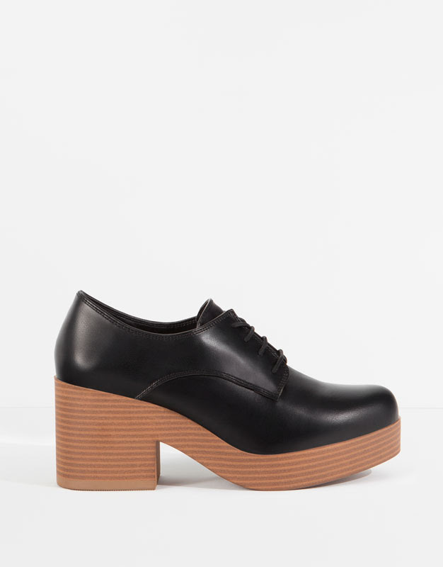 Pull&Bear - mujer - zapatos mujer - blucher bloque acordonado - negro - 11455111-V2016