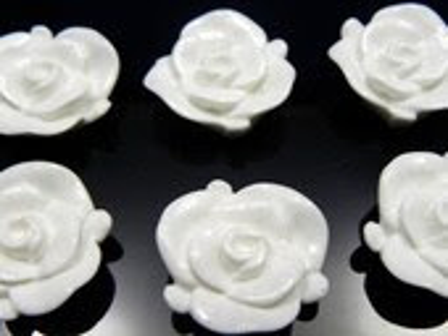 23mm White Shimmer Rose Resin Cabochons - 10 pcs