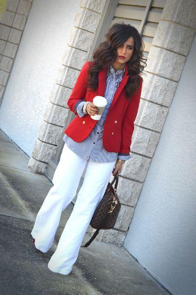 WHITE WIDE LEG PANTS, Chambray blouse, red blazer