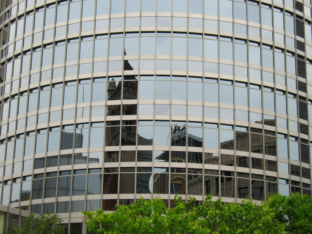 reflections on a round glass building