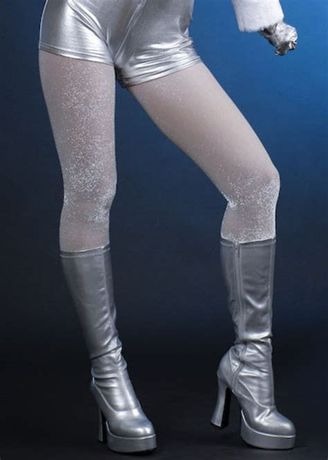 70s Glam Rock Silver Glitter Sparkle Tights