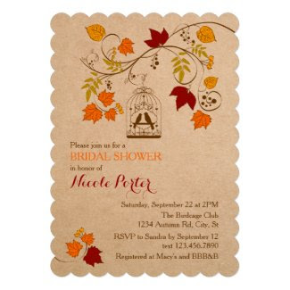 Rustic Autumn Birdcage Bridal Shower Invitation