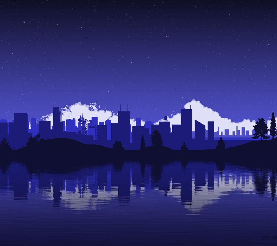 夜の都会のイラスト Androidスマホ壁紙 Wallpaperbox