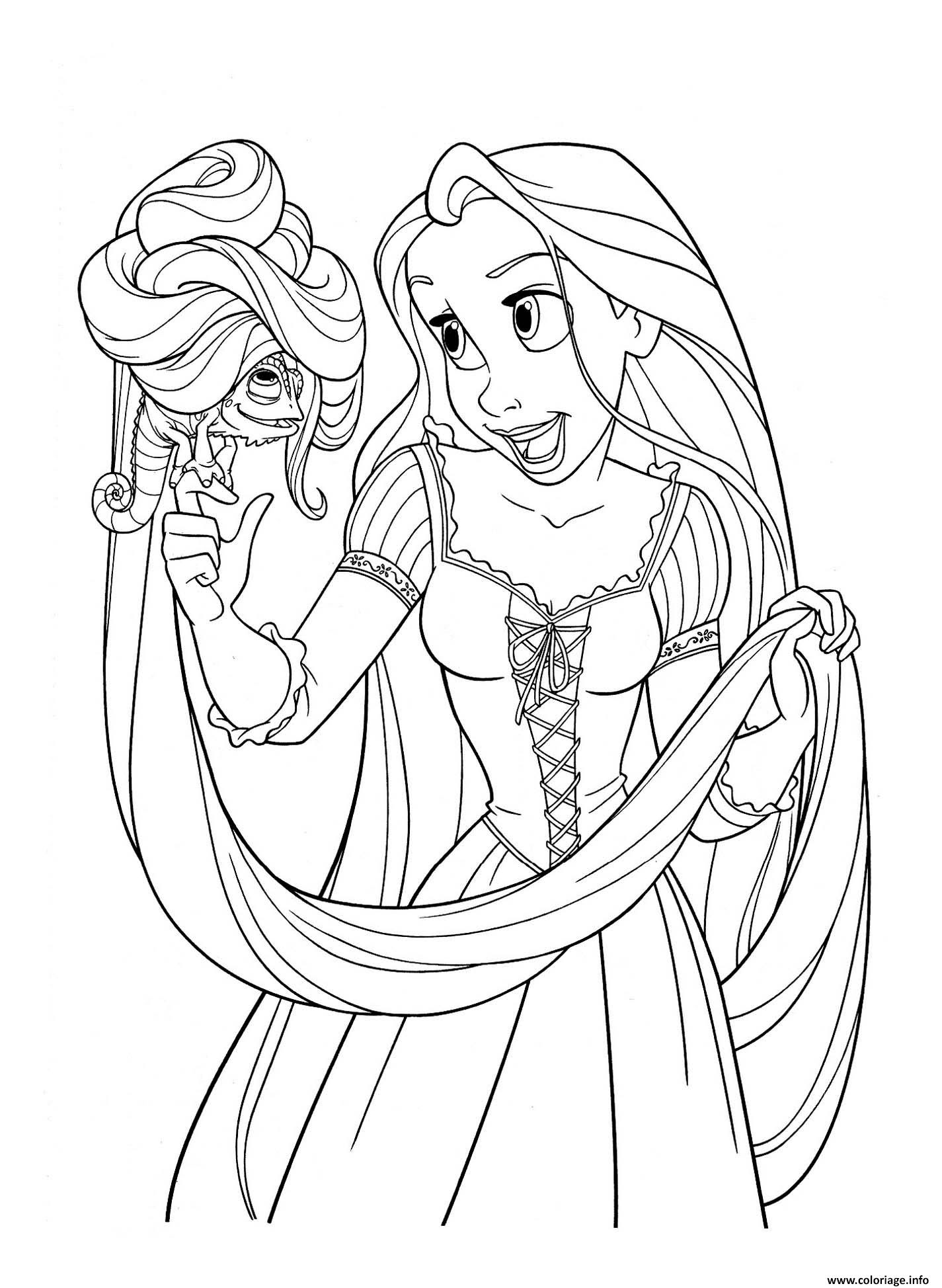 Coloriage Raiponce Princesse Disney Avec Pascal Jecoloriecom