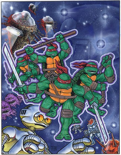 Rejected TMNT First Comics graphic novel ..cover art by Peter Laird (( 1987 )) [[ Courtesy of P.L. ]]