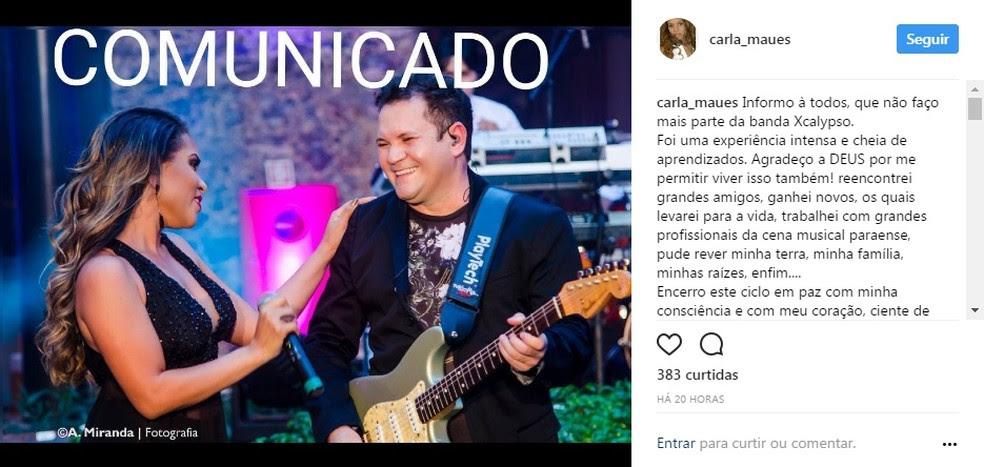 Carla Maues anuncia saída da banda (Foto: Reprodução)