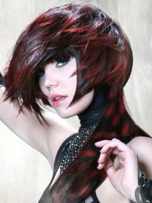 Destaques do cabelo vermelho