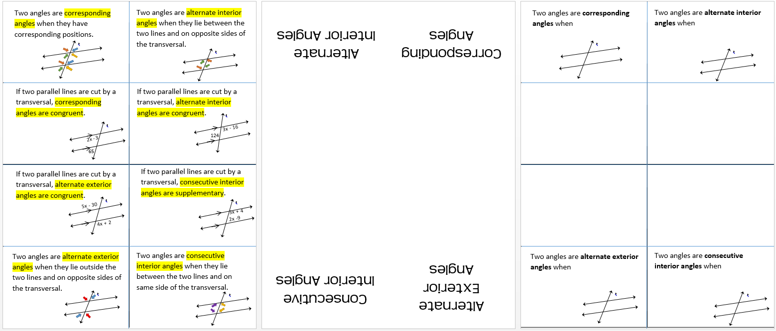 Angles Formed by Transversal three page spread