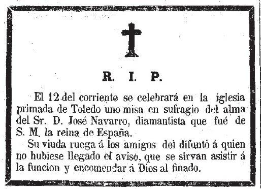 Esquela del diamantista José Navarro. Diario La discusión. 11 febrero de 1863, nº2190, pag 4.