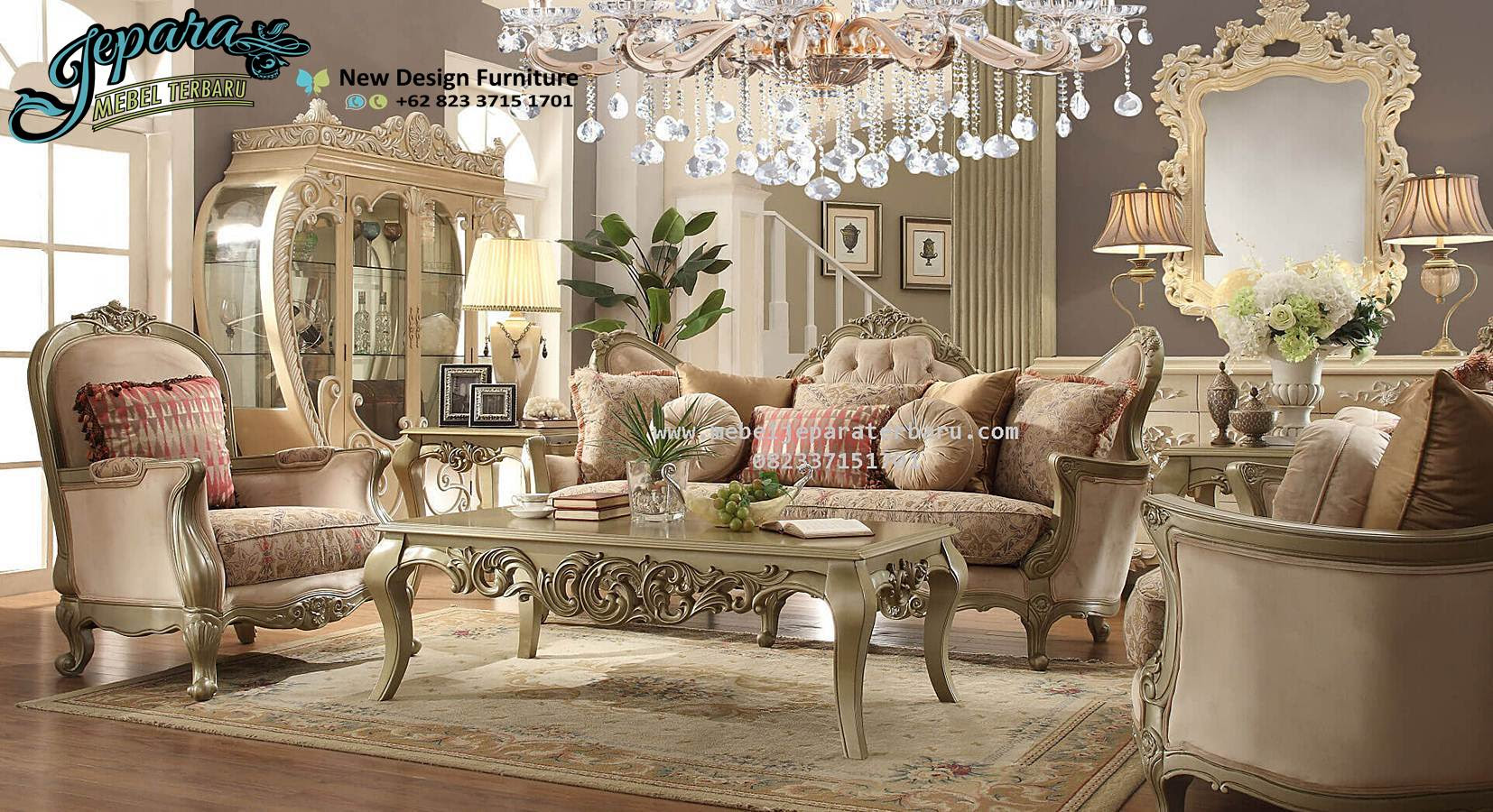 Model Sofa Ruang Keluarga Mewah Klasik SST 075 Sofa Ruang Tv Sofa