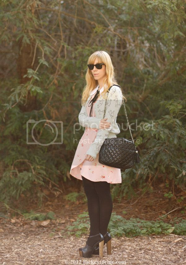 Marni at H&M sequin collar, Love wrap dress, H&M bird print cardigan, Jessica Simpson Dany heels, Los Angeles fashion blog