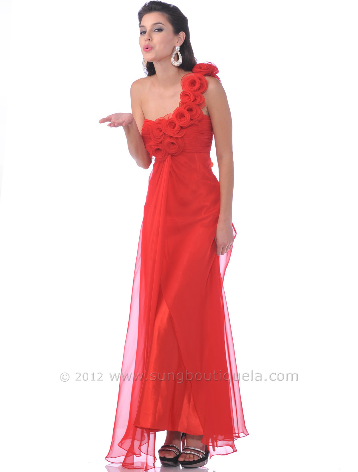 Red evening dress one shoulder