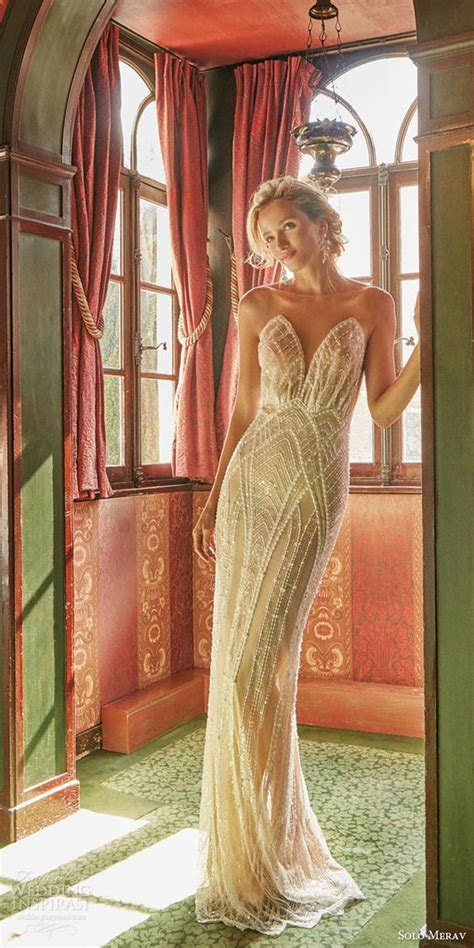 32 Sexy Deep Plunging V Neck Wedding Dresses   Deer Pearl