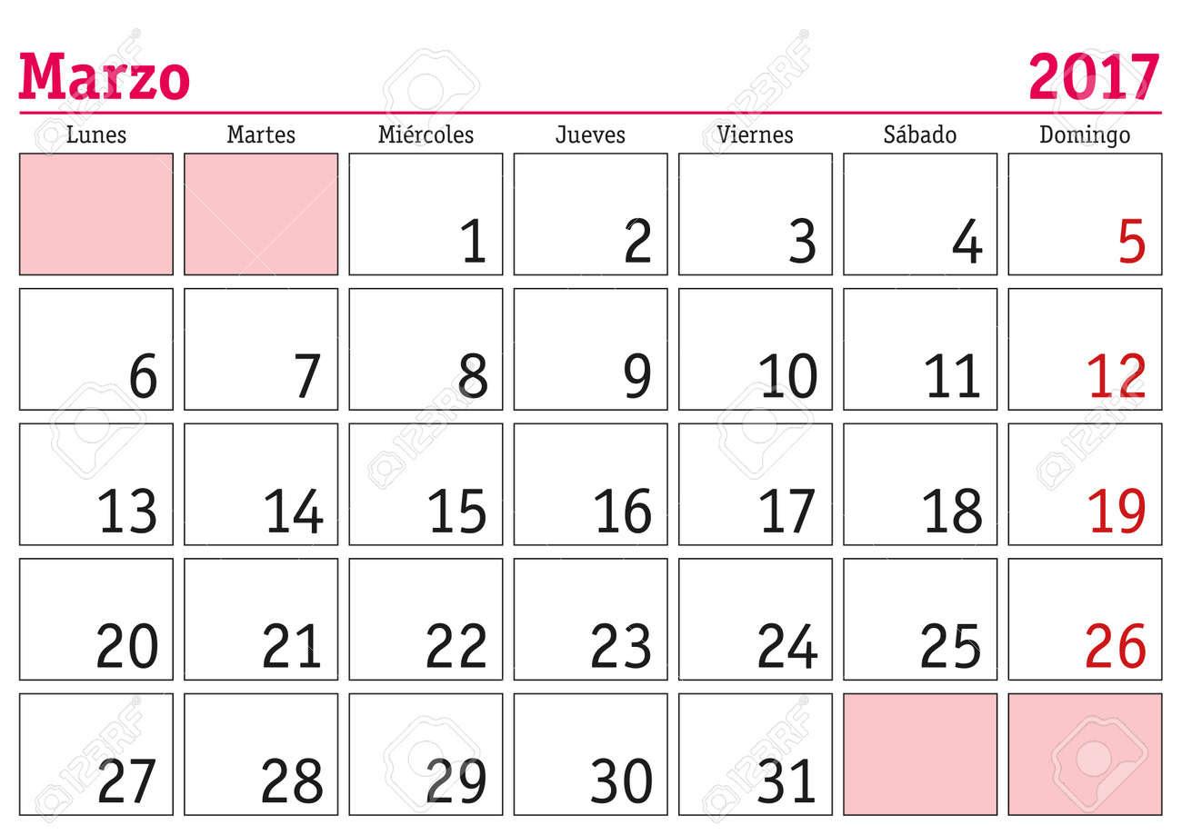 March Calendar 2017 In Spanish | 2017 calendars