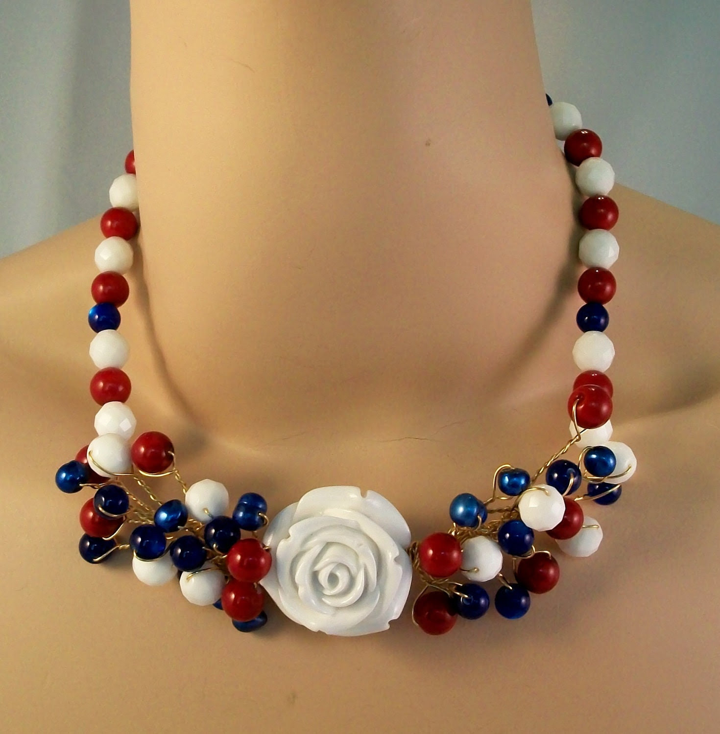 Red, White and Blue Necklace-APDA