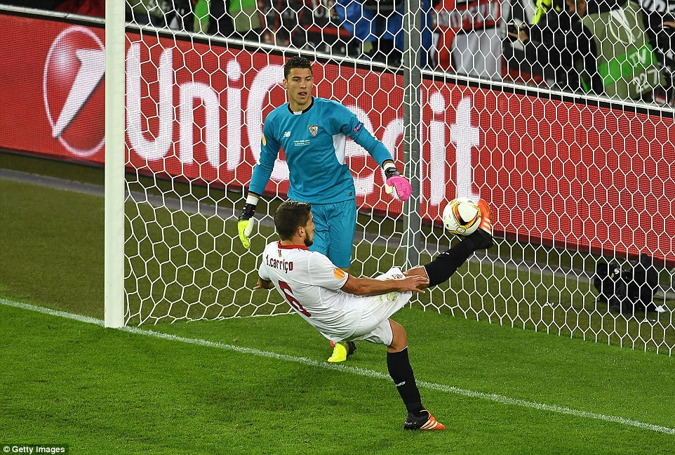 With Sevilla's goalkeeper stranded, Sturridge's first-half header was cleared away by defender Daniel Carrico as it headed in