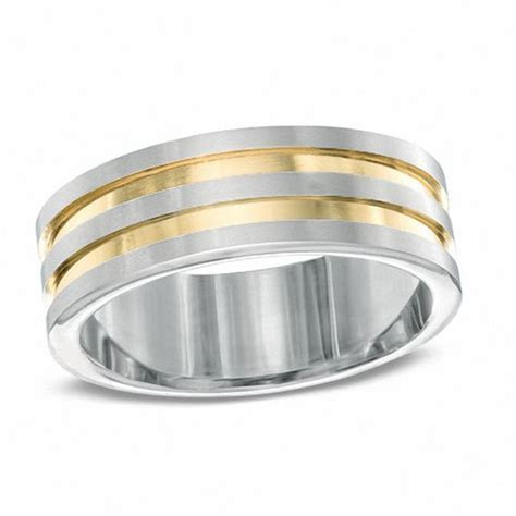 Men's 8.0mm Double Groove Wedding Band in Two Tone