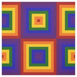 Geometric Rainbow Squares Fabric