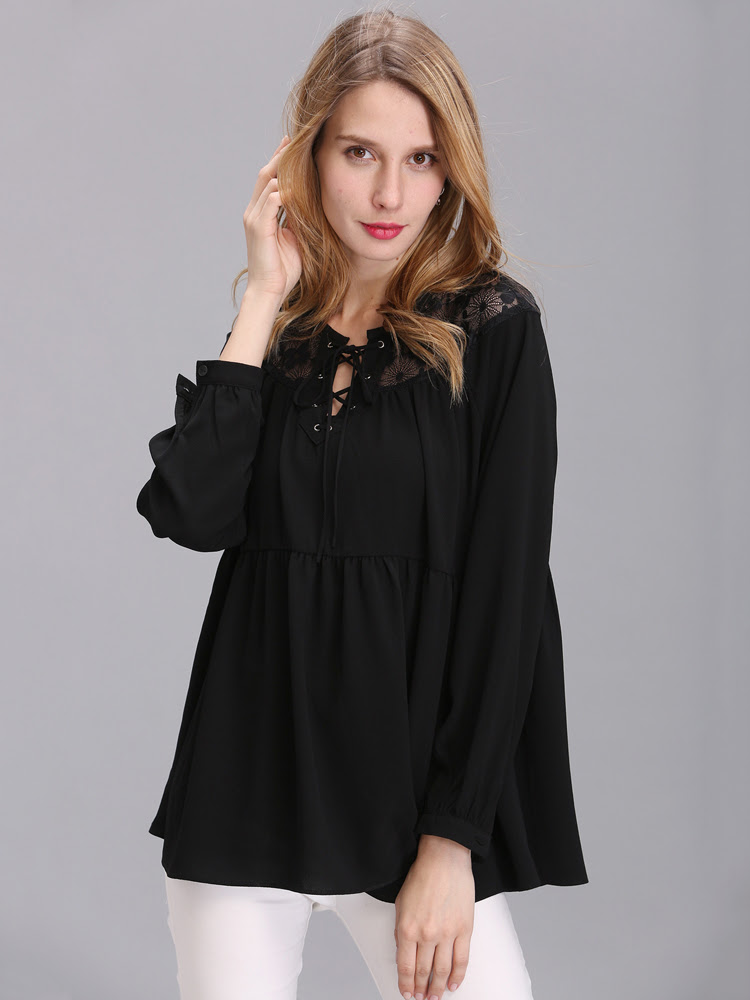 Women Loose Hollow Patchwork Chiffon Long Sleeve T-Shirt