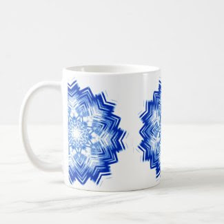 Coffee/Tea Mug with Blue Mandala Decoration