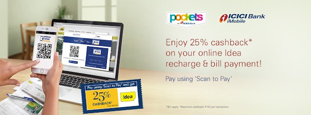 Get 25% Cashback on Idea Recharge and bill payment