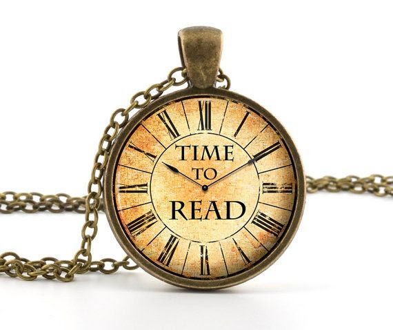 Book Necklace - Book Jewelry - Book Lover Pendant - Time To Read Pendant - Vintage Book Quote Jewelry via Etsy JAN2014