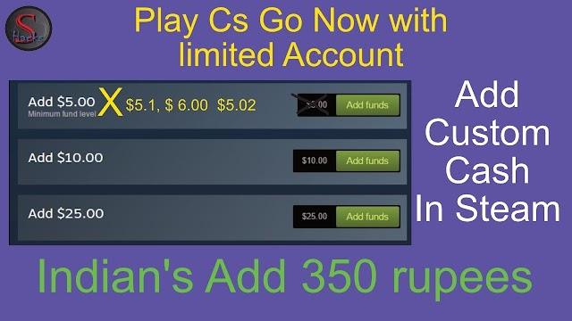 Add Custom Cash in Steam    Indians add exactly 5 $ now